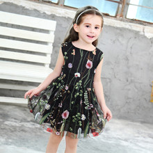 Kids girls dress 2019 summer new sleeveless cotton embroidery water mesh mesh dress children's clothing