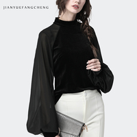 Long Sleeve Womens Spring Tops 2019 Blouse Black Stand Collar Ladies Casual Tops Plus Size Zipper Patchwork Velour Shirt