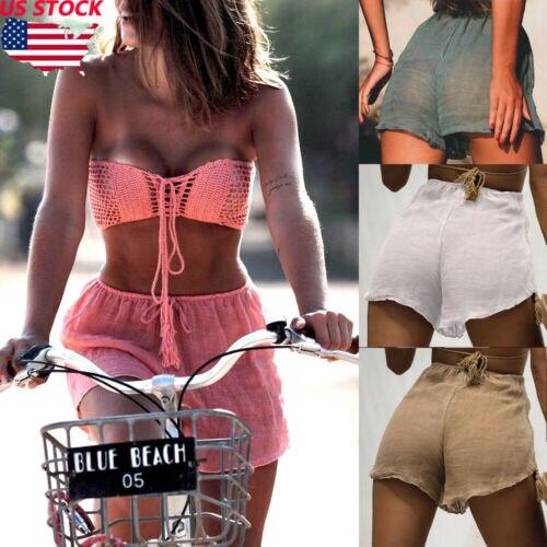 Casual  Womens Shorts Summer Sexy Hot Drawstring Solid Pants Casual Beach High Waist Mini Short Pants