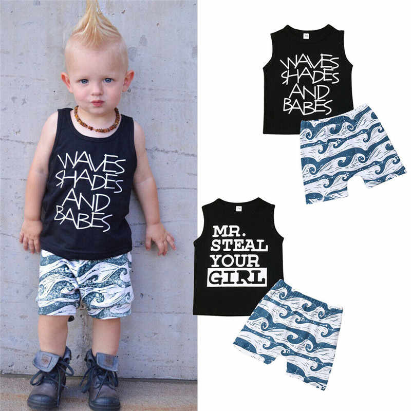Toddler Clothing 2pcs Summer Outfits Baby Boy Kids Clothes Set Sleeveless Vest Letter T-shirt Tops+Waves Shorts Clothes