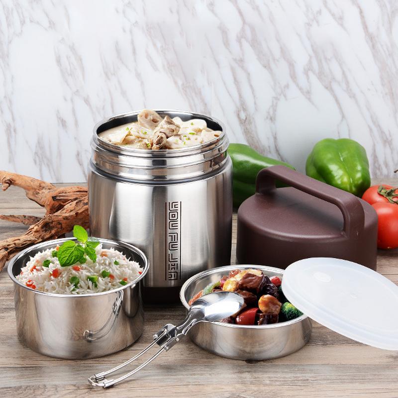 Thermos Food Container Boîte À Lunch En Acier Inoxydable 1.6L 1.8L 2.0L L'école Bento Boîte De Stockage Portable Boîte À Lunch Vaisselle