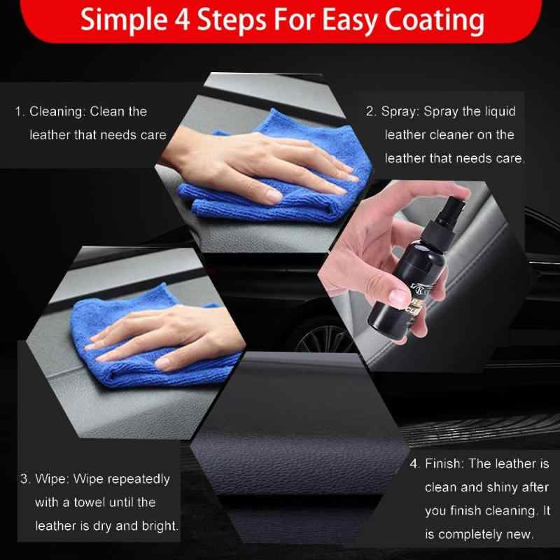 VODOOL Universal 50mL Car Interior Leather Surface Seat Polish Wax  Dashboard Cleaner+Towel