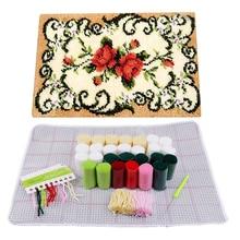 Декоративный цветочный ковер комплект для вязания крючком DIY подушка ковер цветок защелка крючок ковер набор рукоделие вышивка крючком