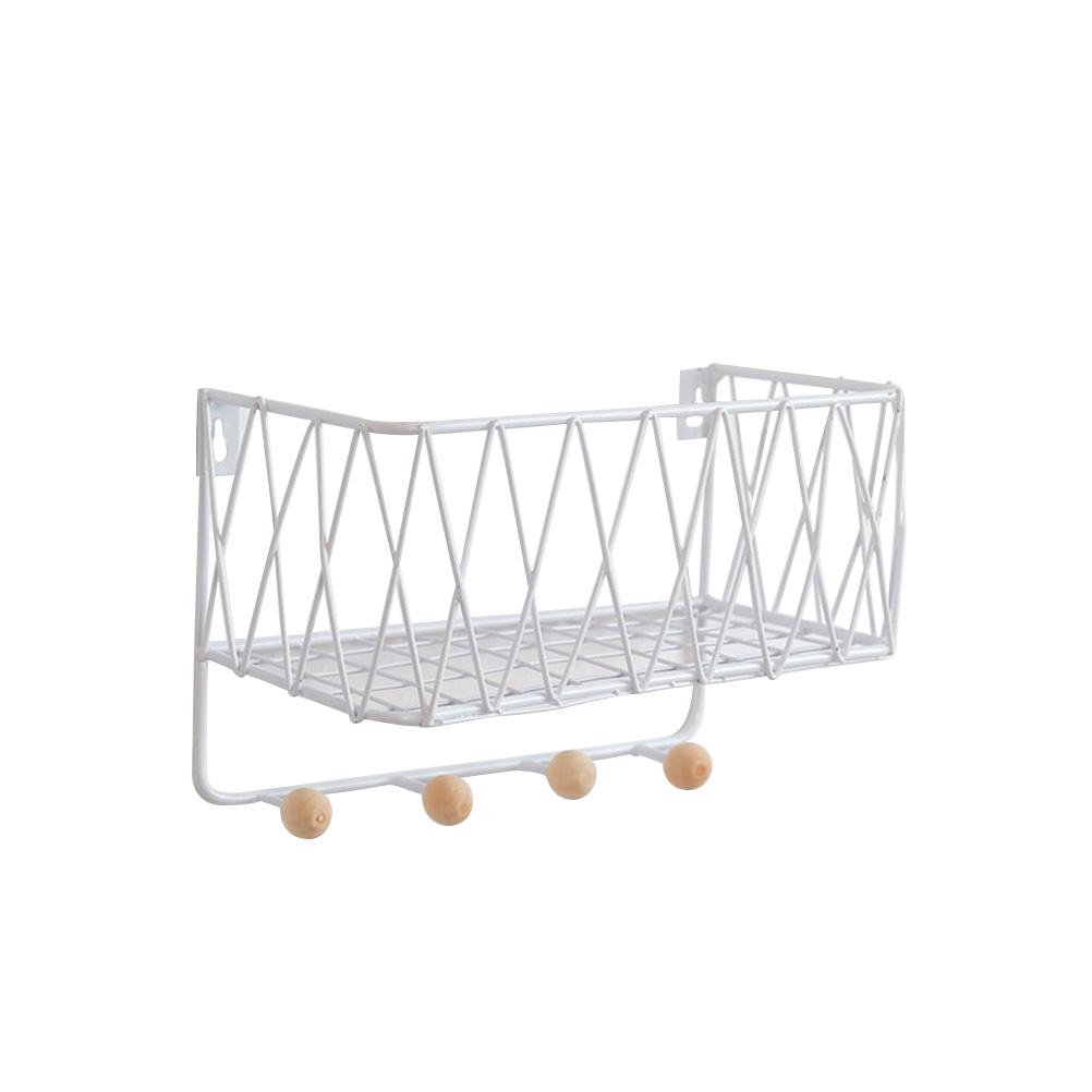 Modern Wrought Iron Grid Storage Rack Wall Mounted