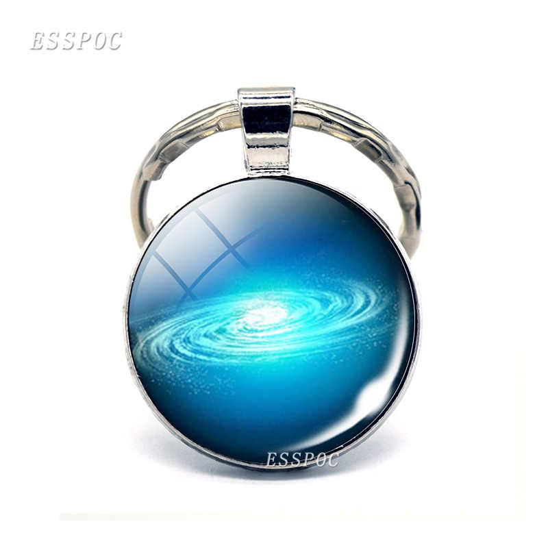 Mars Earth Charming Galaxy พวงกุญแจเนบิวลาจักรวาลด้านนอกดาวเคราะห์แก้ว Cabochon Key Chain แหวนจี้ผู้หญิงผู้ชายของขวัญ