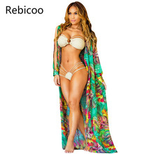 Sexy Chiffon Long Puff Sleeve Tunic Beach Blouse Floral Print Plus Size Boho Ethnic Top Women 2019 Summer Kimono Shirts