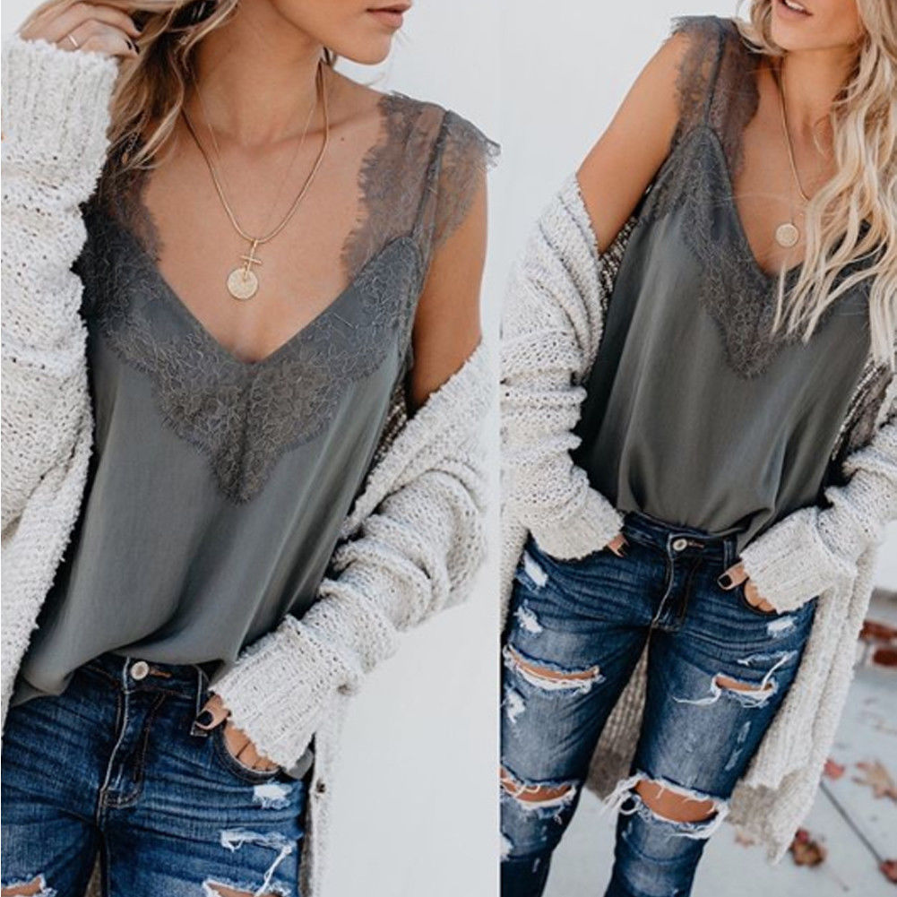 Women Tank Top  Loose Fit   Lace Casual Plain Sleeveless Camisole Vest  Summer V Neck  Tops Fashion Tank Tops