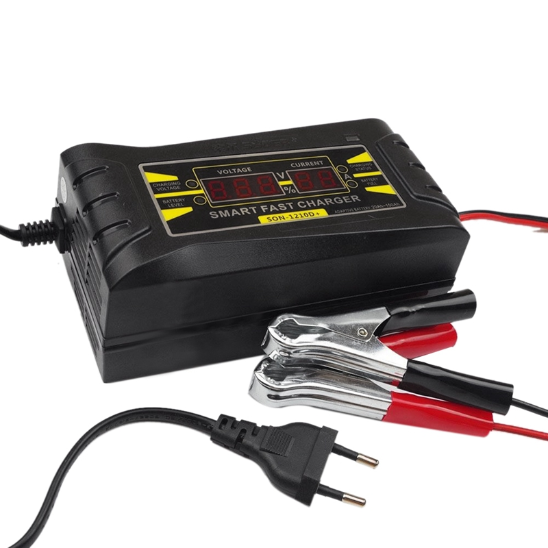 Son-1210D+ Lcd Smart Fast Lead-Acid Battery Charger 12V 10A For Car Motorcycle Eu Plug