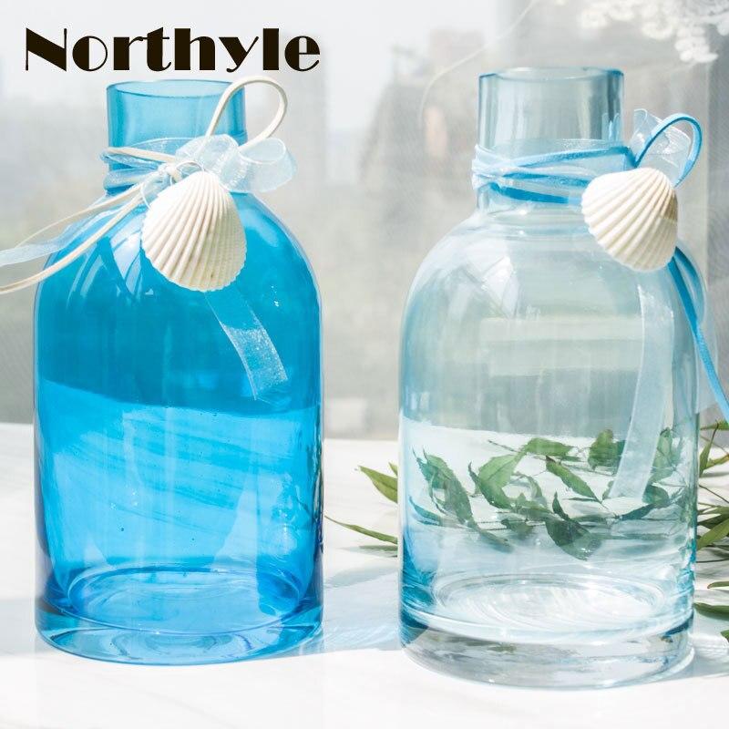 Bleu mer style verre Vase fleur bouteille coquille jardin décoration accessoires verre vase fleur bouteille mariage vase