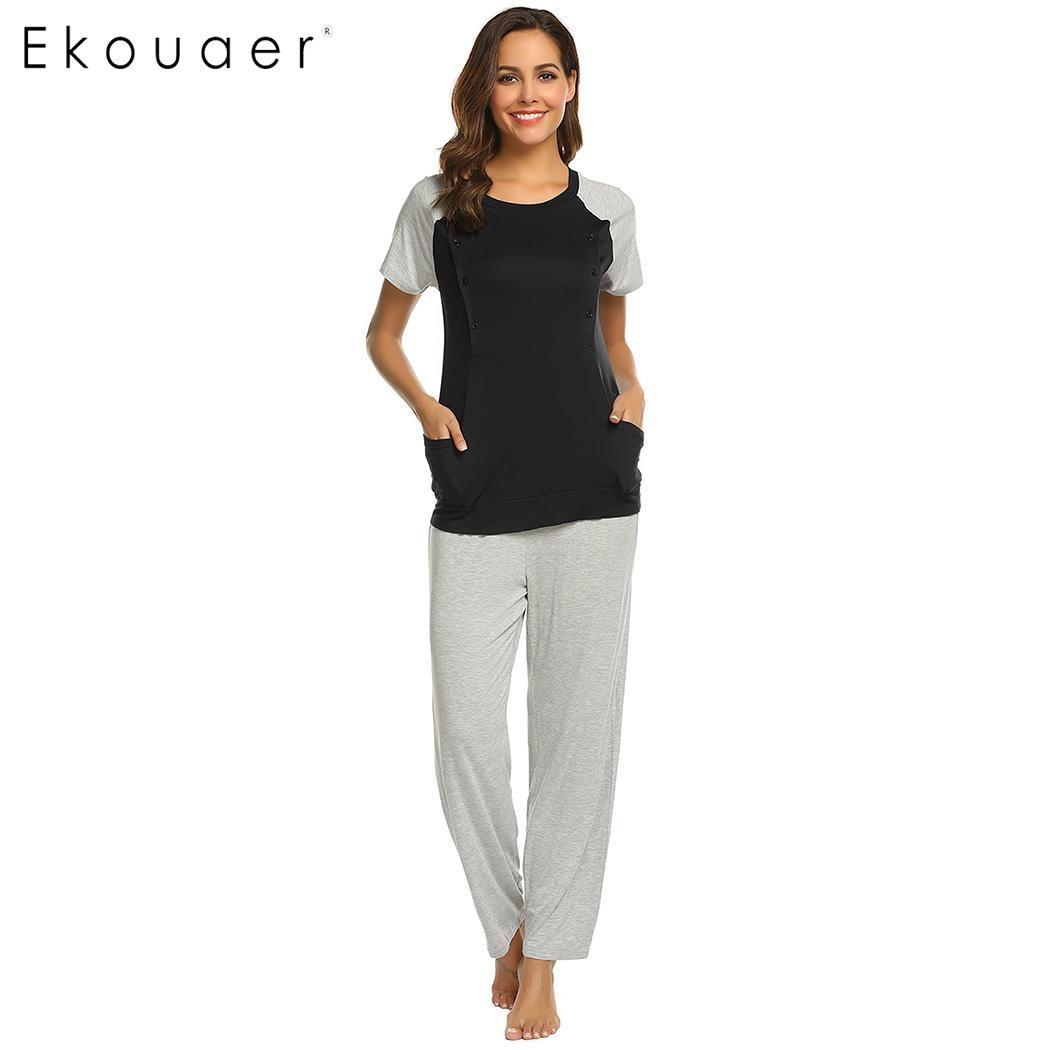 Ekouaer Pyjamas Set Frauen Casual Oansatz Kurzarm Tops Lange Hose Pyjamas Mutterschaft Weichen Homewear Pyjama Set S-xxl Ungleiche Leistung Unterwäsche & Schlafanzug