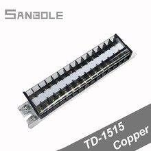 Terminal Block Copper TD-1515 Combine Type 15A/15P Connection Dual Row with screws DIN rail mounted Wiring Connector недорго, оригинальная цена