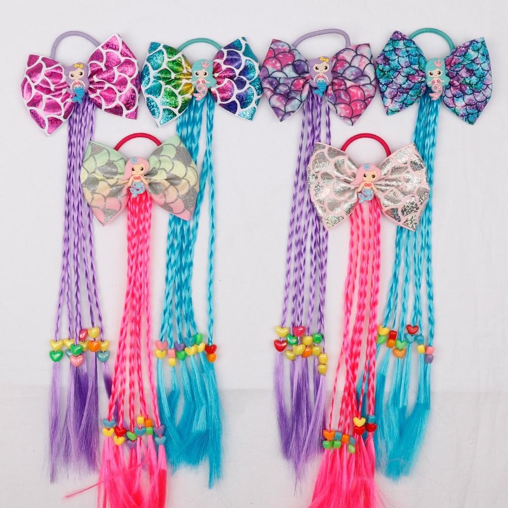 Xugar Hair Accessories Hair Bows Hair Bands For Girls Mermaid Bowknot Scrunchie For Hair Tie Kids Long Braid Pigtails Headband