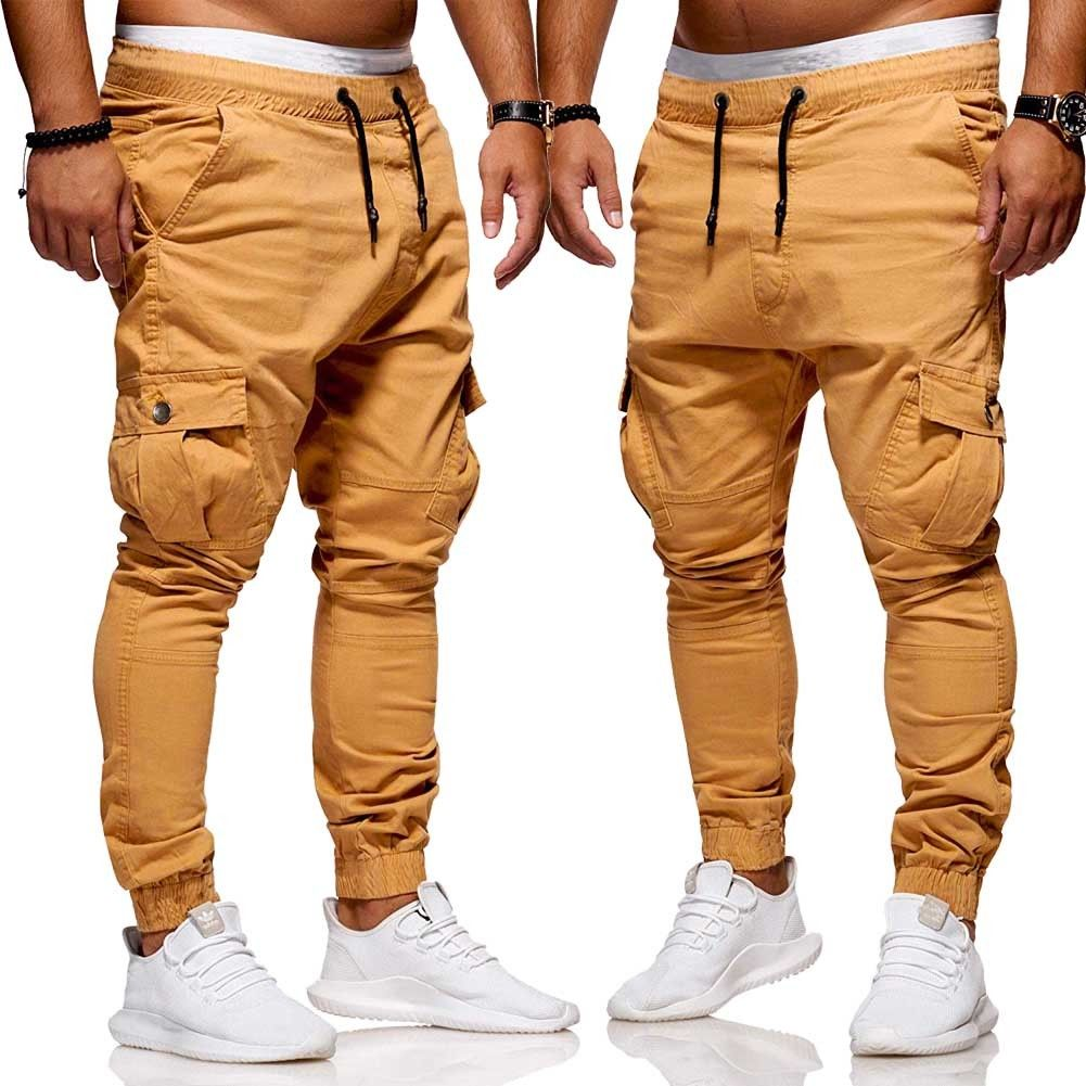 2019 Brand New Fashion Men's Slim Straight Leg Trousers Casual Solid Pencil Jogger Cargo Pants Fashion Solid Pants