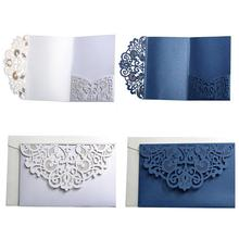 10PCS European Style Laser Cut Wedding Invitations Cards Tri-Fold Lace Business Invitation Party Decoration