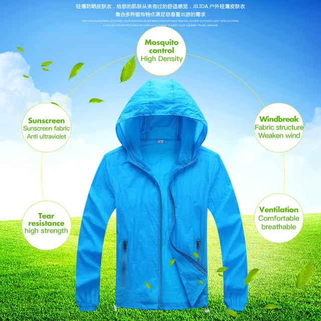 Men Women Quick Dry Skin Sunscreen Windproof Anti-uv Sportwear  UltraLight Windbreaker Running Jacket