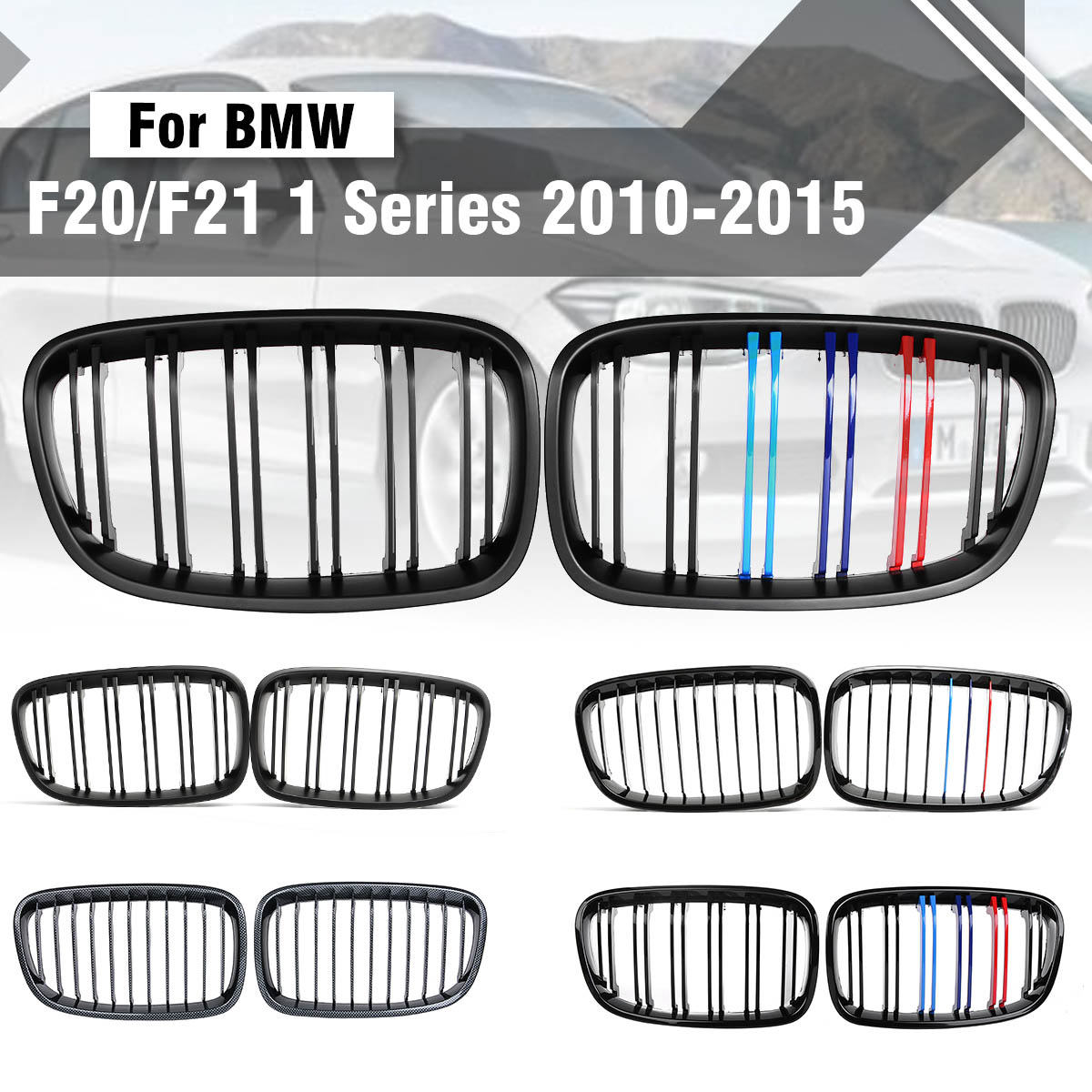 for BMW F20 F21 1 Series 2012 2013 2014 2015 Pair ABS Replacement Matt Gloss Black M Front Kidney Grille Grill Double Line Slat pair gloss matt black m color 2 line front kidney grille grill double slat for bmw e90 e91 3 series 2004 2005 2006 2007