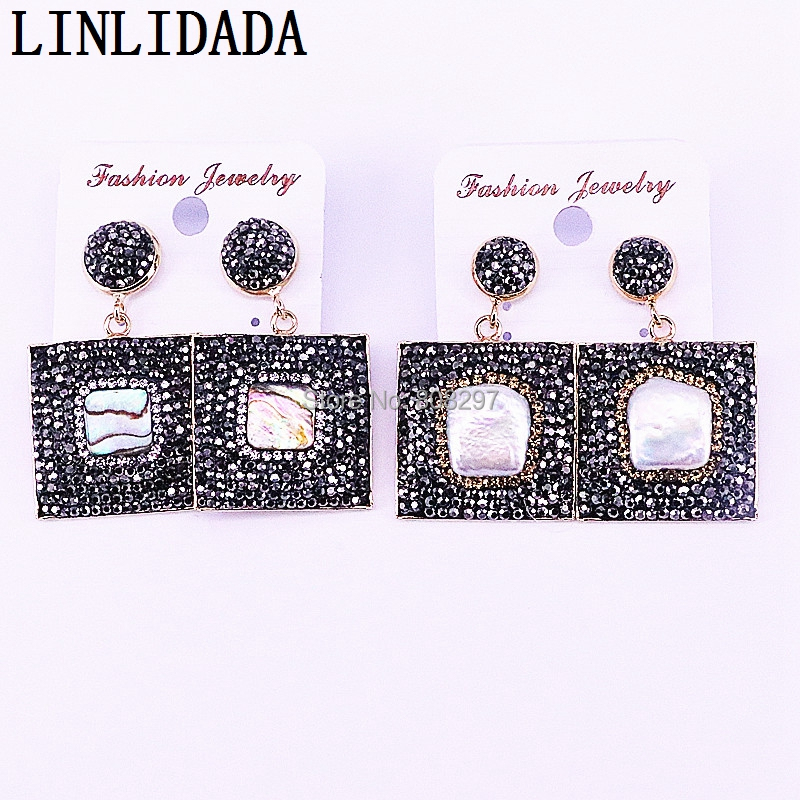 5Pair Natural Freshwater Pearl Shell With Rhinestone Crystal Paved Square Dangle Earrings For Fashion Women Pary