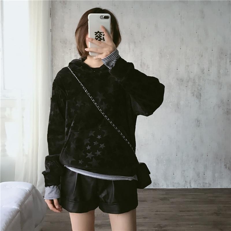 Hoody Ladies Women Streetwear Star Sweatshirt Hoodies Women Velour Outdoor Streetwear Kawaii Women Clothes 2019 Casual Hoodies