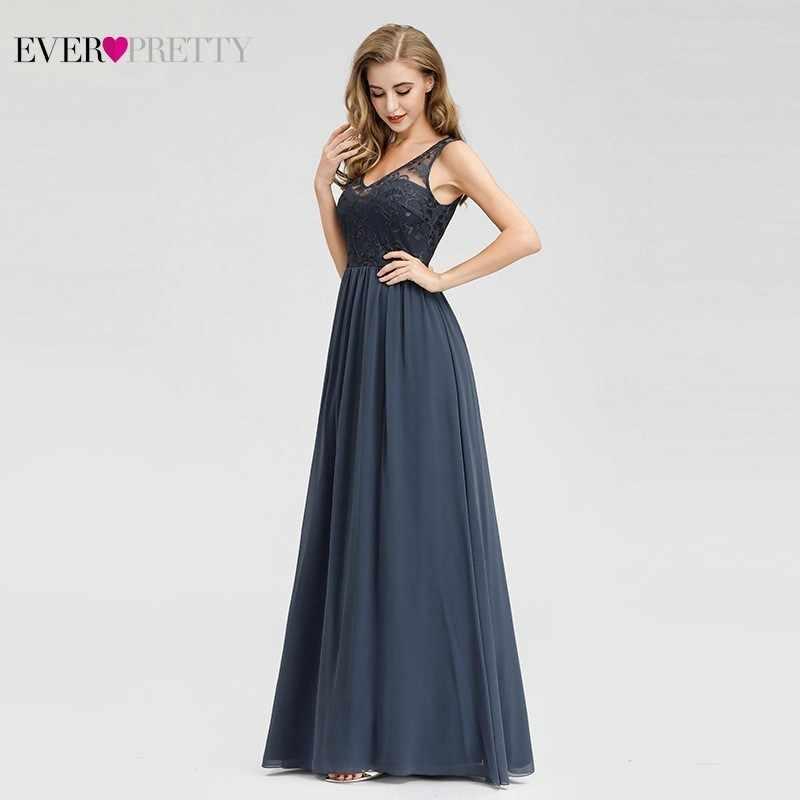 Элегантные кружевные вечерние платья, 2020 Ever Pretty EZ07999DN, а-силуэта, с треугольным вырезом, без рукавов, Формальные Длинные платья Abiye, винтажные праздничные платья
