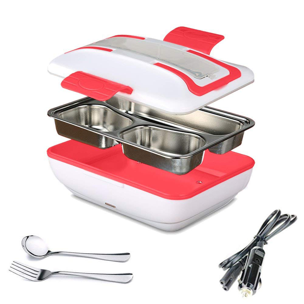 Lunch Box  Portable Electric Heating Lunch Warmer Box with Removable Stainless Steel Container Food Heater and a Car Charger|Lunch Boxes| |  - title=