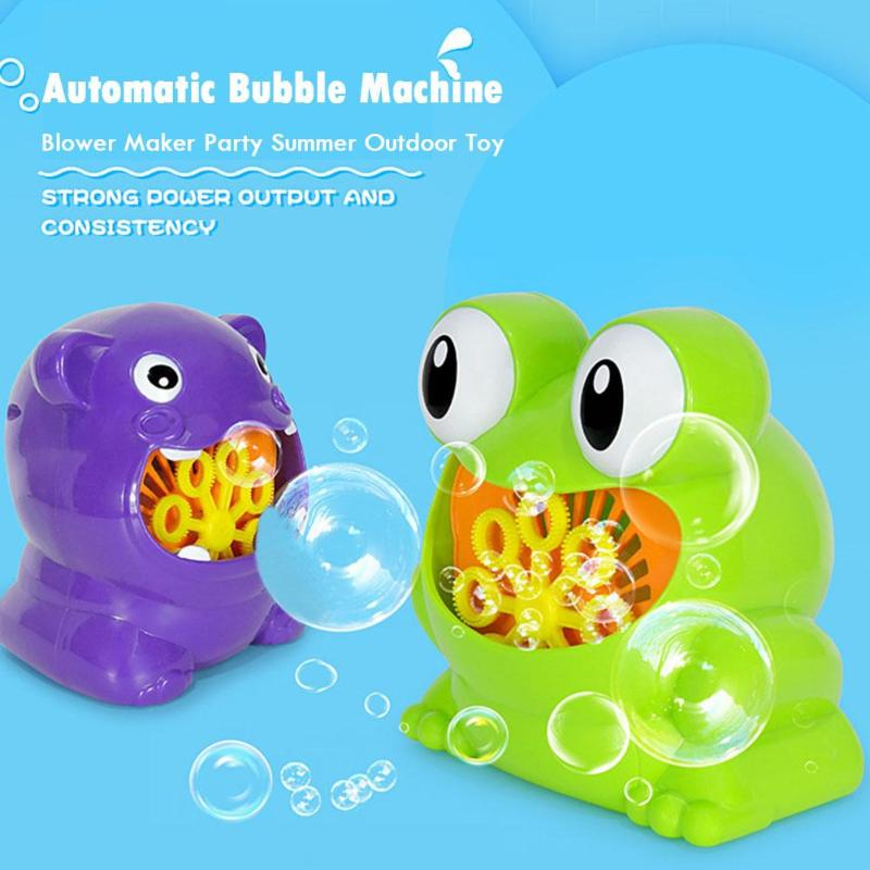 New Cute Frog Automatic Bubble Machine Blower Maker Party Summer Outdoor Toy for