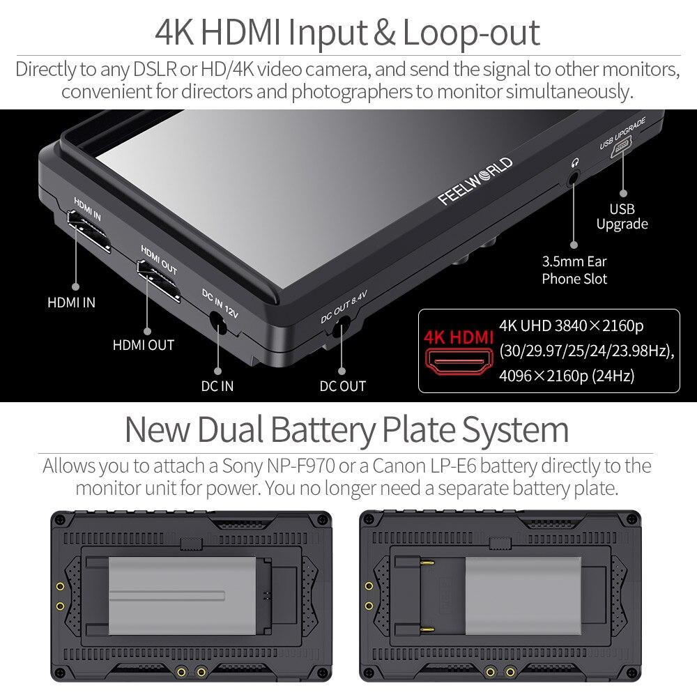 FEELWORLD FW568 5,5 pulgadas DSLR Cámara Monitor de campo 4K HDMI Full HD 1920x1080 LCD IPS salida de CC Enfoque de vídeo asistencia para cámaras - 5