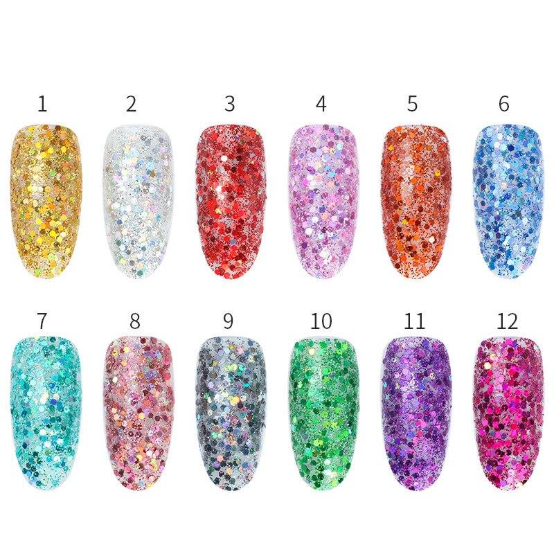 13 couleurs holographique Laser Rose paillettes mélange hexagone Paillette paillettes forme de poudre pour Art d'ongle paillettes artisanat décoration