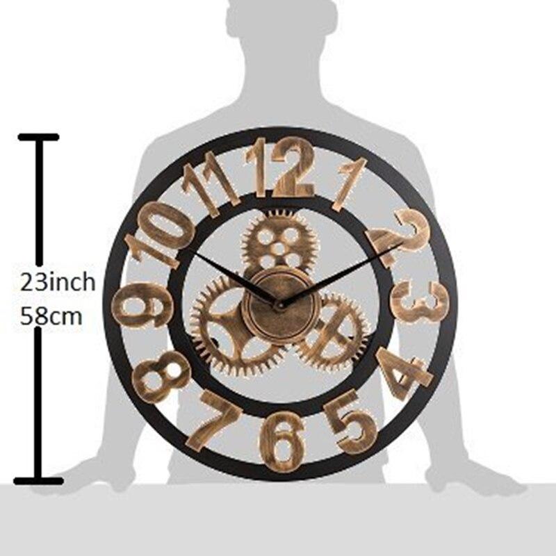 LUDA horloge 3D rétro rustique Vintage en bois 23 pouces silencieux engrenage horloge murale numéro antique or - 5