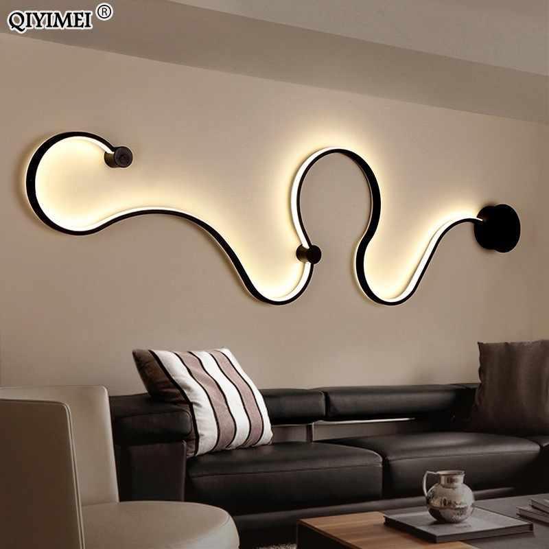 Простые креативные Настенные светильники белого или черного цвета для спальни, прикроватные украшения, Скандинавский дизайн, гостиная, коридор, отель