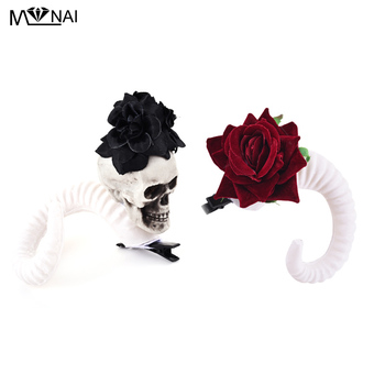 Demon Evil Gothic Lolita Skull Sheep horn Hair Clip Accessory Cosplay Costumes Halloween Party Hairpin Headwear Prop 1