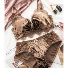 677d3283e Xnxee New Fashion Women Velvet Bra set Underwear High Waist Panties Soft  Trim lingerie Set Push