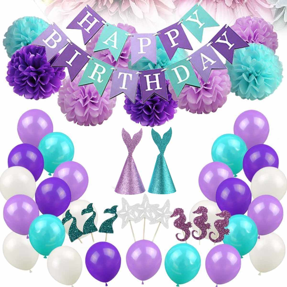 76Pcs Mermaid Theme Birthday Party Set For Adult Kids Ocean Party Prom Supplies Balloons Headdress Cake Topper Banner Room Decor76Pcs Mermaid Theme Birthday Party Set For Adult Kids Ocean Party Prom Supplies Balloons Headdress Cake Topper Banner Room Decor