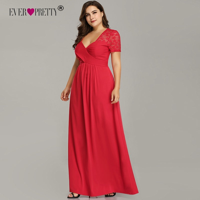 Plus Size   Prom     Dresses   Ever Pretty Elegant Red A Line V-Neck Short Sleeve Long Formal Party Gowns Robe De Soiree Longue 2018