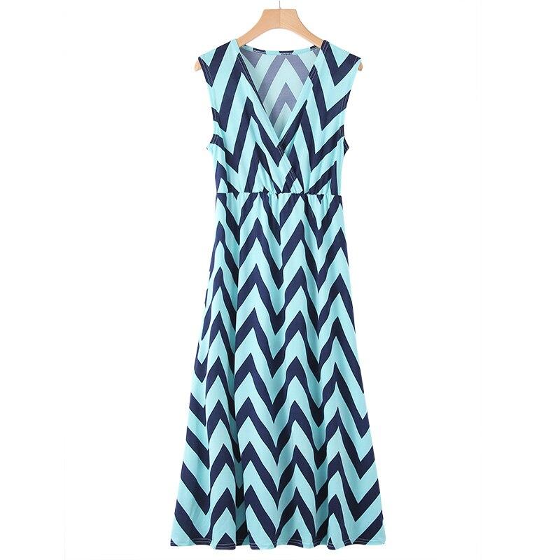 Plus Size Summer Dress Women Casual Loose Striped Print Beach Midi Dress Boho Style Sexy V-Neck Short Party Dress Vestidos 2019
