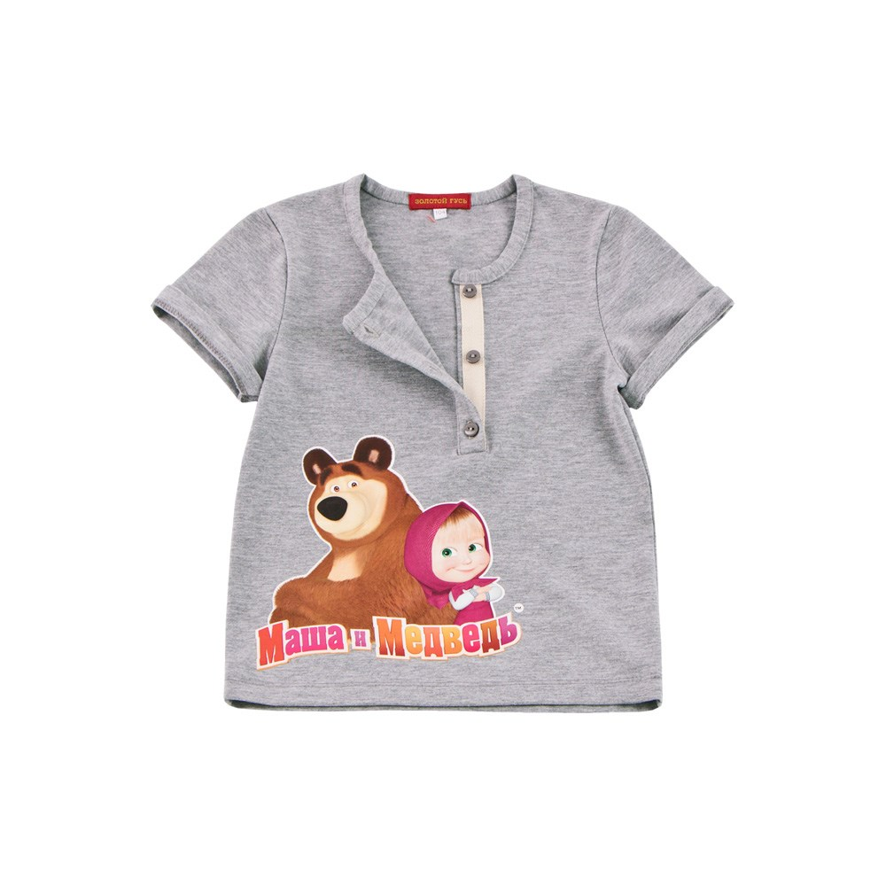 Masha and the Bear Shirt T-shirt with strap gray melange M v neck flower and bird print plus size short sleeve men s t shirt