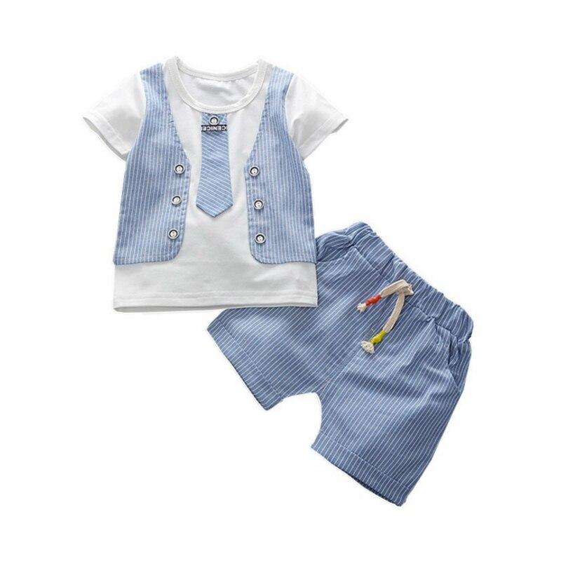 Детская Хлопковая одежда для маленьких мальчиков, футболка с галстуком-бабочкой и шорты, 2 шт./компл., модная одежда для малышей, лето 2019