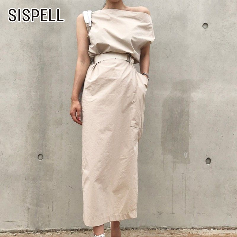 Sispell Patchwork Dress For Women O Neck Flare Sleeve Hit Colors Ruffles Hem Split Womens Dresses Korean Fashion Clothes New Women's Clothing