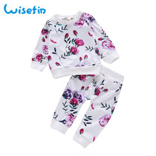 Wisefin Baby Girl Clothes Spring Long Sleeve For Autumn Casual Floral Infant Clothing Set Flower 2019