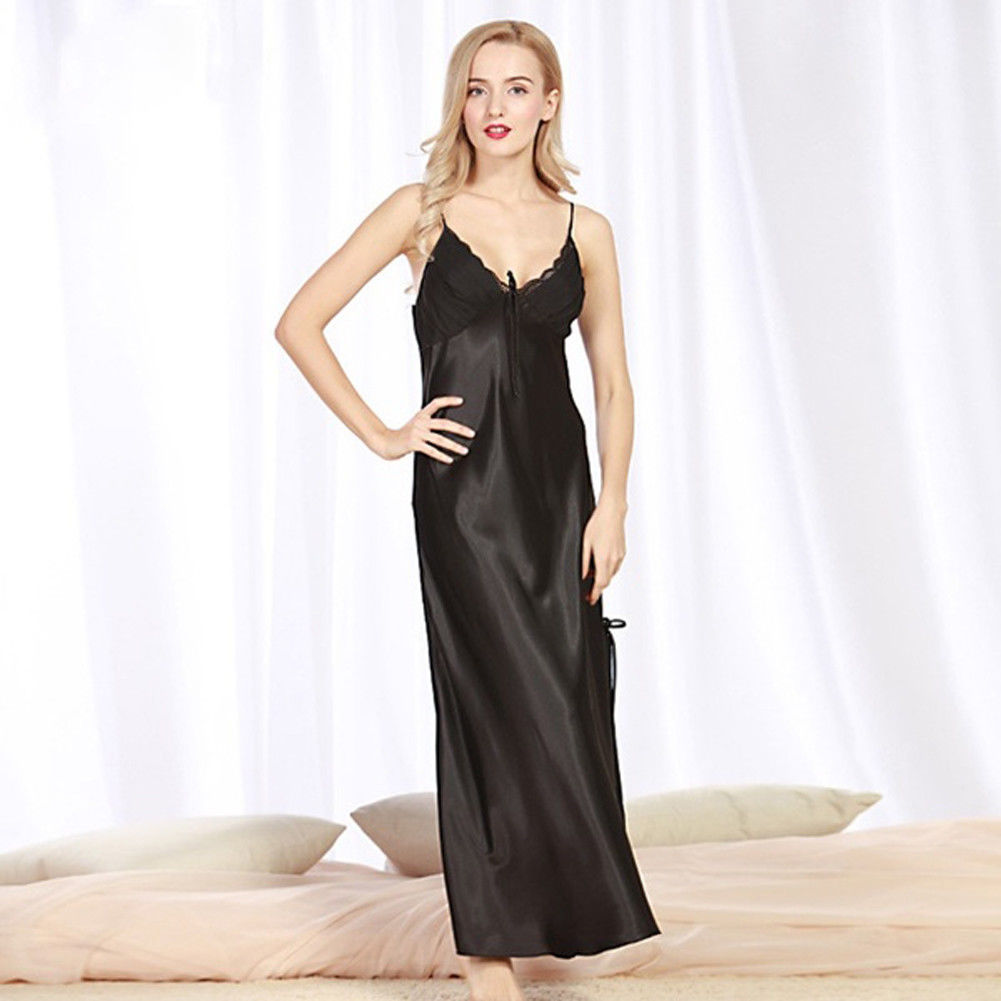 Sexy Women Silk Satin Lace Robe Sleepwear Nightdress   Nightgown   Summer Sleeveless Strap   Sleepshirts