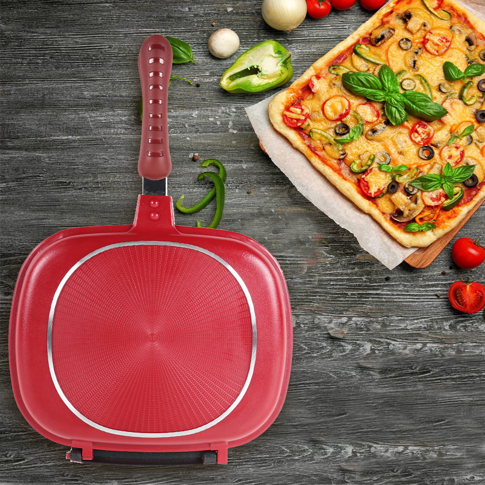 28/32 CM Double-sided Frying Pan Non-stick Barbecue Cooking Tool Grill Fry Pan Cookware Stainless Steel Steak Fry Pan