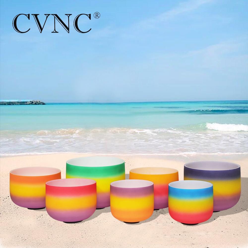 CVNC 6 -12  Chakra tuned set of 7pcs Rainbow Colored Frosted Quartz Crystal Singing Bowl