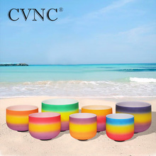 CVNC 6 -12  Chakra tuned set of 7pcs Rainbow Colored Frosted Quartz Crystal Singing Bowl