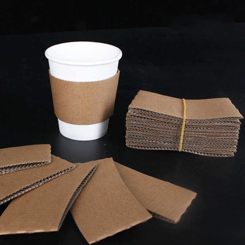 100 PCS Coffee Cup Sleeves White Brown Disposable Cup Holders Kraft Corrugated Paper Tea Cup Sleeves Anti Scalding Customized