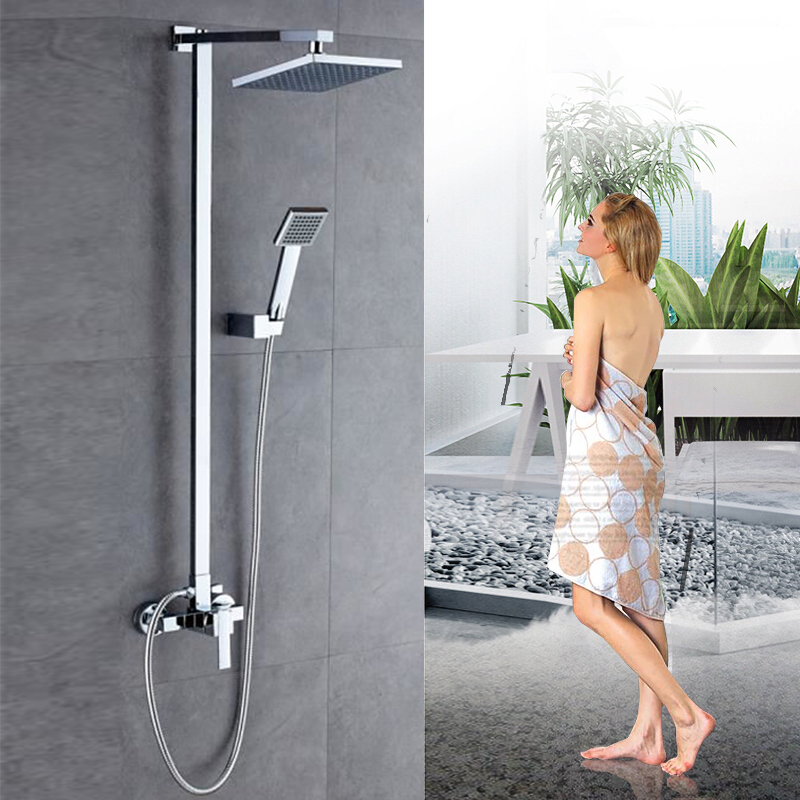 1Set Bathroom Rainfall Shower Head Faucet Set Single Handle Thermostatic Mixer Tap With Hand Sprayer Wall Mounted Shower Kit HWC1Set Bathroom Rainfall Shower Head Faucet Set Single Handle Thermostatic Mixer Tap With Hand Sprayer Wall Mounted Shower Kit HWC
