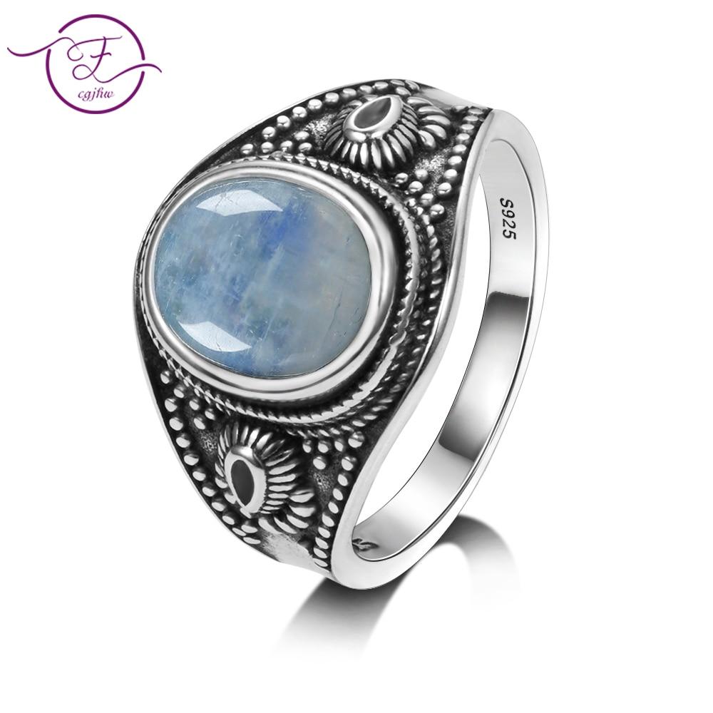 Men and women 925 sterling silver jewelry DIY retro ring natural moonstone 8x10MM oval gem gift Innrech Market.com