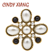 CINDY XIANG New Arrival Simulated-pearl Cross Brooches for Women Vintage Baroque Pins Wedding Bouquet Brooch Fashion Jewelry
