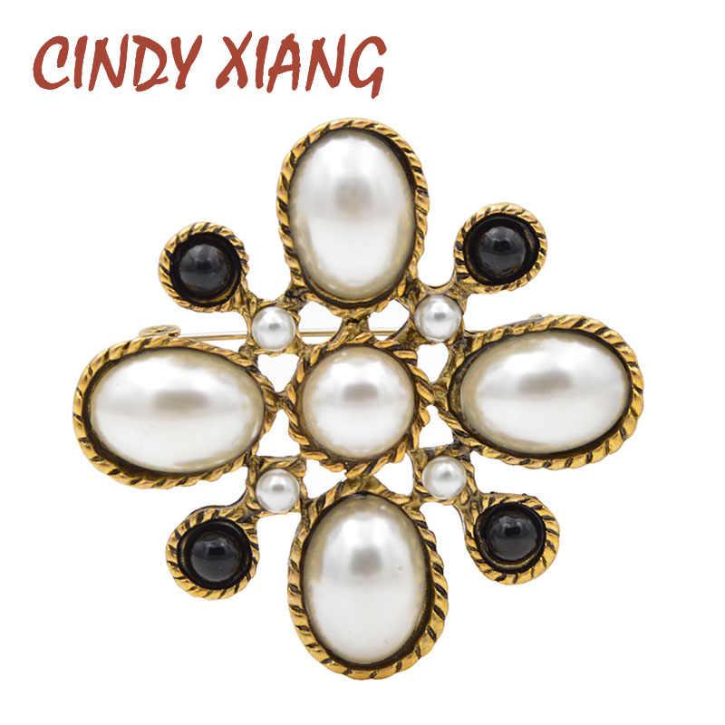 Cindy Xiang Baru Simulasi Mutiara Cross Bros untuk Wanita Vintage Baroque Pin Pernikahan Bros Fashion Perhiasan