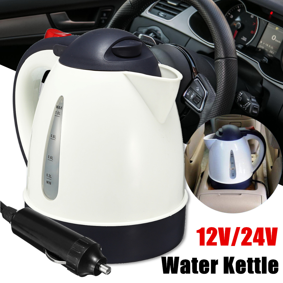 1000ml 12V/24V Portable Car Hot Water Kettle Heater Warmer Travel Camping Tea Coffee Automobile Heating Kettles Stainless Steel