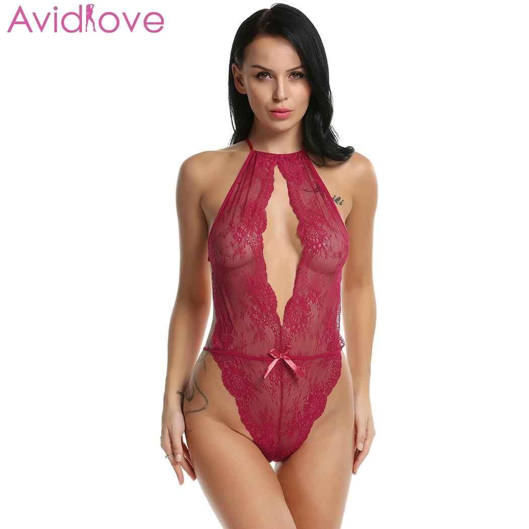 509bd735306 ... Avidlove Sexy Lingerie Sleepwear Bodysuit Lace Bow Women Sexy Lingerie  Babydoll G String Open Crotch Leotard ...