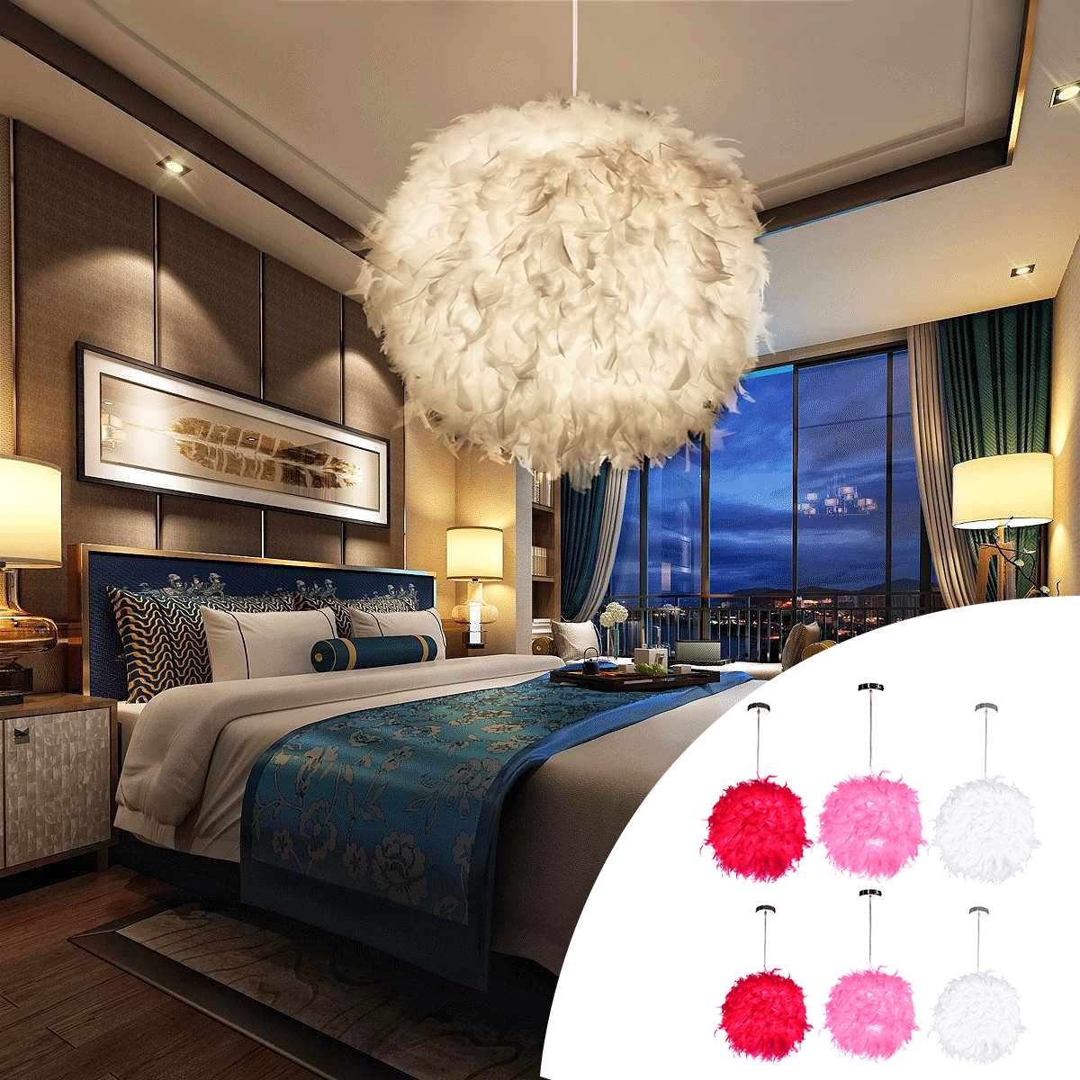 Modern Red/Pink/White 110-220V Feather Ball Lamp Shade Ceiling Pendant Light Shade Bedroom Living Room E27 Soft Safe Decor